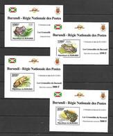 Burundi 2011 Animals - Frogs I 4 MS MNH - Kikkers