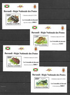 Burundi 2011 Animals - Frogs II 4 MS MNH - Kikkers