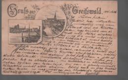 Gruss Aus Greifswald Strich Vorläufer Litho Gelaufen 1891 Mit 5 Pfennig Marke Leider Mit Senkrechtem Knick - Greifswald