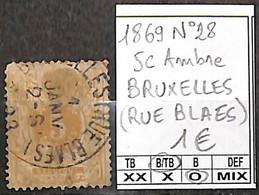 NB - [847140]B/TB//O/Used-Belgique 1869 - N° 28, 5c Ambre, BRUXELLES (RUE BLAES), Lions, Félins - 1869-1888 Lion Couché (Liegender Löwe)