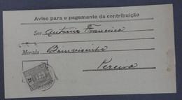 Portugal - Aviso Para Pagamento Da Contribuição - Alenquer - Alemquer - 1899 D. Carlos I 2,5r - Brieven En Documenten
