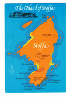 ISLAND OF STAFFA, Scotland, Older 4X6 MAP Chrome Postcard - Unclassified
