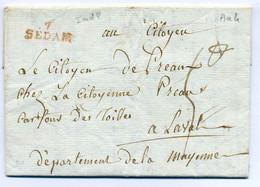 7 SEDAN  ( 20x8.5 Avec é) / Dept Des Ardennes / Ecrite D'Angecourt / 2 Janvier 1796 - 1701-1800: Precursors XVIII