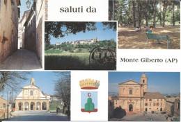 (FM) MONTE GIBERTO, MULTIVEDUTA - Cartolina Nuova, Animata, Auto, Saluti - Other Cities