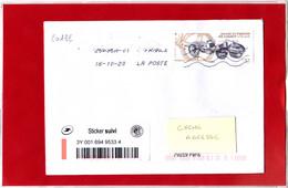 F 2020 / 1.16 € + Sticker Suivi Sur Lettre Obl Du 1er Jour 16.10.2020, 250 Ans Fardier De Cugnot, Automobile à Vapeur - Francia