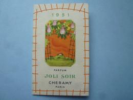 Calendrier  1951  JOLI SOIR PARFUM CHERAMY PARIS, (PARFUMS)    -(2020 OCTOBRE 41) - Calendari