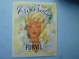 Calendrier  1956  TROIS VALSES,   Parfums FORVIL PARIS (Parfums)     -(2020 OCTOBRE 39) - Calendari