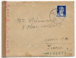 TURQUIE - Enveloppe Pour Cannes (France) 1942 Censure OKW Commission G - Briefe U. Dokumente