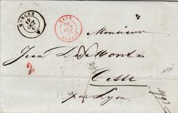 LAC De Morges (Suisse) Pour Sète (34) - 19/10/1848 - CAD Type 15 + Marque Entrée Vaud Ferney + TM 9 + Cachet 2 - Marques D'entrées