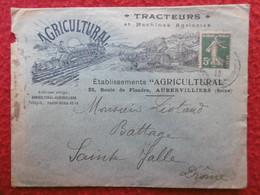 TIMBRE SEMEUSE 5c VERT SUR ENVELOPPE ILLUSTREE TRACTEURS AGRICULTURAL A AUBERVILLIERS 1920 - 1877-1920: Periodo Semi Moderno