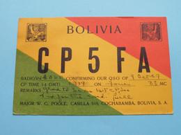 BOLIVIA CP5FA Major W. C. Poole COCHABAMBA > WOZEP > USA Colorado 1949 ( See / Voir Photo ) - Radio Amatoriale
