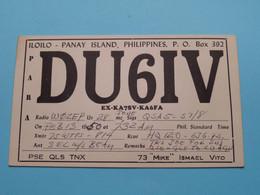 "PHILIPPINES DU6IV Panay Island 73 ""Mike"" Ismael Vito > WOZEP > USA Colorado 1950 ( See / Voir Photo ) - Radio Amatoriale"