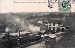 Cpa QUETTEVILLE 27 Environs De Beuzeville, Gare De Quetteville - Trains - Other Municipalities