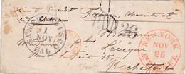 PSC San Francisco (USA) Pour Rochefort (17) - 1/11/1854 - CAD 15M + Marque Entrée Etats-Unis Paq. Am.A. Paris + Paid 26 - Marques D'entrées