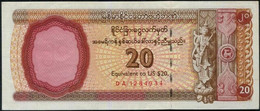 Myanmar / Burma FEC Foreign Exchange Certificate (USD) $20 Banknote - Myanmar
