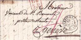 LAC De Saint-Etienne (42) Pour Genève (Suisse) - 9 Septembre 1844 - CAD Type 15 + TM 4 Rouge + Cachet LF5D + Vernex - 1801-1848: Voorlopers XIX