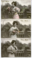 CPA - 3 Cartes Postales - Fantaisie - Vive Marie - Portrait De Femme - Fleur - 1910 (MM14273) - Vrouwen