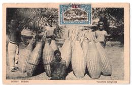 Congo Belge - Vanniers Indigènes - Timbre Surchargé 50c - édit. Peter Frères  + Verso - Congo - Kinshasa (ex Zaire)
