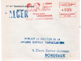 ALGER-  - EMA -ENVELOPPE OBLITERATION MECANIQUE - TRANSAT VACANCES CIE GENERALE TRANSATLANTIQUE - Algeria (1962-...)