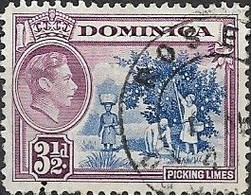 DOMINICA 1938 King George VI - Picking Limes - 3 1/2 D - Blue And Mauve FU - Dominica (...-1978)