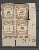 FRANCE TAXE ANNEE 1927 (2) N°57 BLOC DE 4 EX COIN DATE NEUFS** MNH TB COTE 60 € REMISE-85% - ....-1929