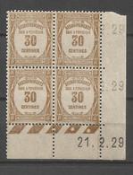 FRANCE TAXE ANNEE 1927 (3) N°57 BLOC DE 4 EX COIN DATE NEUFS** MNH TB COTE 60 € REMISE-85% - ....-1929