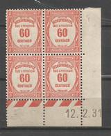 FRANCE TAXE ANNEE 1927 (2) N°58 BLOC DE 4 EX COIN DATE NEUFS** MNH TB COTE 75 € REMISE-85% - ....-1929