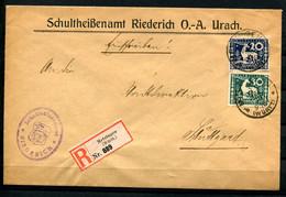7380) Mischfrankatur Dienst-EBf Metzingen 31.3.1920 Gepr. INFLA - Wurttemberg