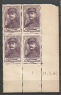 FRANCE ANNEE 1940 N°455 BLOC DE 4 EX COIN DATE NEUF** MNH TB COTE 50 € REMISE-90% - 1940-1949