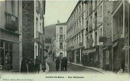 Cpa AMELIE LES BAINS 66 Rue Nationale - ( Hôtel Bocassin Au Fond ) - Otros Municipios