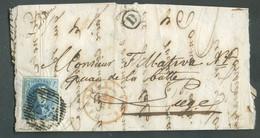 N°7 - Médaillon 20 Centimes Bleu Obl. P.57 Sur Lettre Incomplète De HASSELT Le 10 Juillet 1854 + Boîte D Vers Liège - - 1851-1857 Medallones (6/8)