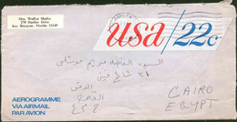 United States Of America 1977 Used Aerogramme Send To Egypt - Lettres & Documents