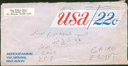 United States Of America 1977 Used Aerogramme Send To Egypt - Brieven En Documenten