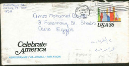 United States Of America 1988 Used Aerogramme Send To Egypt - Lettres & Documents