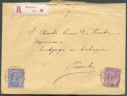 N°46-48 Obl. Sc NEDERBRAKEL Sur Lettre Recommandée Du 26 Janvier 1888 ((6,7 Gr/1 Port) Vers Pariche (LIERDE-Sainte-Marie - 1884-1891 Léopold II
