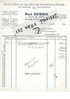 54 - Meurthe-et-moselle - MARBACHE - Facture DUBOIS - Transports, Etc - 1952 - REF 169B - 1900 – 1949