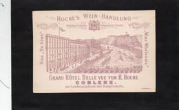 ALLEMAGNE - COBLENZ - GRAND HOTEL BELLE VUE VON H. HOGHE - HOCHE'S WEIN HANDLUNG -  Carte Publicitaire Hôtel - Ohne Zuordnung