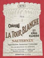 Etiquette - Vin - France - Sauternes - 1978 - Château La Tour Blanche. Brrr - Other