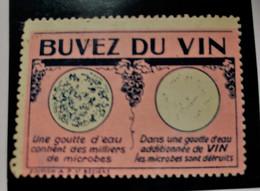 BUVEZ DU VIN PR TUER MICROBES ET BACTERIES PUBLICITÉ -Erinnophilie,Vignette,stamp,Label,Sticker-Aufkleber-Bollo-Viñeta - Turismo (Viñetas)