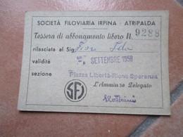 SFI Società Filoviaria Irpina ATRIPALDA Avellino Italia Settembre 1958 Abbonamento Libero NEW - Season Ticket