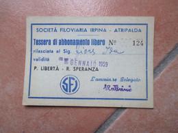SFI Società Filoviaria Irpina ATRIPALDA Avellino Italia GENNAIO 1959  Abbonamento Libero NEW Nuovo Formato - Season Ticket