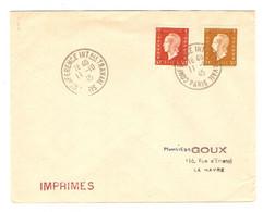 LETTRE IMPRIMÉ PARIS CONFÉRENCE INTERNATIONALE DU TRAVAIL 11/10/1945 → LE HAVRE - MARIANNE DULAC N° 683 + 685 - 1921-1960: Periodo Moderno