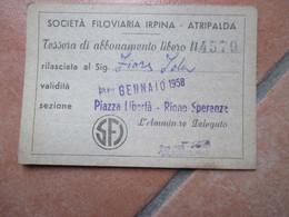 SFI Società Filoviaria Irpina ATRIPALDA Avellino Italia GENNAIO 1958  Abbonamento Libero NEW - Season Ticket