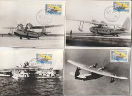 Lot De 4 Cartes Hydravion Et Journée Du Timbre Gabon, 1966 / 1er Service Aéropostal Par Aéromaritime - 1960-.... Brieven & Documenten