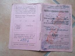 6.11.1945 Biglietto Di Abbonamento A Prezzo Ridotto Bari Centrale N.8 Facciate Ferrovie Dello Stato Impegati/Studenti - Season Ticket