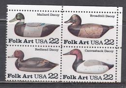 USA 1985 - Folk Art, Set Of 4 Stamps, MNH** - Vereinigte Staaten