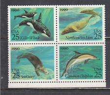 USA 1990 - Marine Mammifiers, Set Of 4 Stamps, MNH** - Vereinigte Staaten