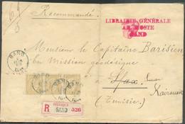 N°50(3) – 50 Cent. Ocre En Bande De Trois, Obl. ScGANDsur Enveloppe Recommandée (69grs./5 Ports) Du 2 Février 1894 Ver - 1884-1891 Léopold II
