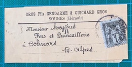 Hérault - SOUBES - N°83 S/bande - 1900 - - 1877-1920: Periodo Semi Moderno