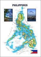 Philippines Country Map New Postcard Philippinen Landkarte AK - Filippijnen
